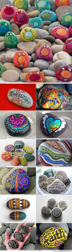 Great Idea for Stone Art Stone crafts and painting Fun Diy Crafts, Rock Crafts, Crafts For Kids, Arts And Crafts, Pebble Painting, Pebble Art, Stone Painting, Diy Painting, Art Pierre