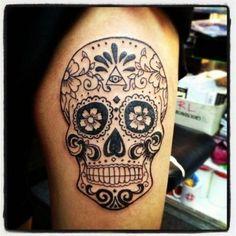 ineedhalloweenideas: sugar skull tattoo #tattoo #tattoos #tattooed #art #design #ink #inked