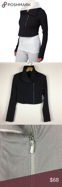 LULULEMON Principle Cropped Moto Jacket \\ S 6 LULULEMON Principle Jacket Size 6 Gently preowned with no major flaws. Light pilling, rip tag is missing  15 inches across shoulder seams 16.5 inches across bust 16.5 inches in length in front lululemon athletica Jackets & Coats