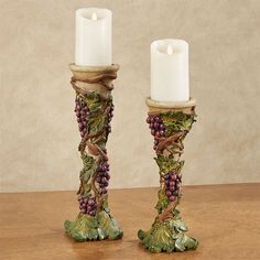 Wine lovers will cheer for the fruitful Grape Harvest Candleholder Set. These hand-painted candleholders feature lush sangria grapes and scrolling tendrils. Bistro Kitchen Decor, Grape Kitchen Decor, Cooking With White Wine, Unique Candle Holders, Clay Jar, Wine Stains, Wine Decor, Luxury Candles, Wine Bottle Holders