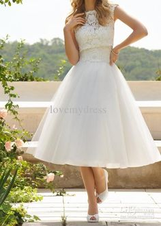 Wholesale 2013 New Bateau Sleeveless Lace Tea Length A-Line White Wedding Bridal Formal Dress Dresses Gowns, Free shipping, $133.91/Piece | DHgate Mobile