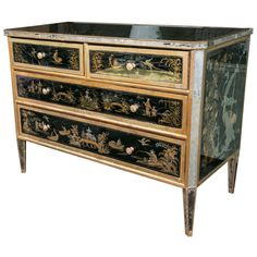 Maison Jansen Reverse Glass Paint Decorated Chinoiserie Commode   From a unique collection of antique and modern commodes and chests of drawers at https://www.1stdibs.com/furniture/storage-case-pieces/commodes-chests-of-drawers/