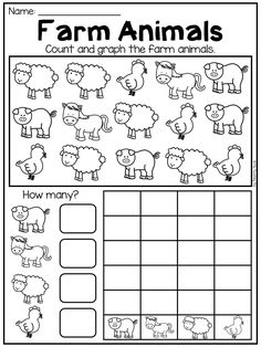 Graphing and data worksheet. Students count the animals, write the totals and create a bar graph showing the results. Graphing Worksheets, Printable Preschool Worksheets, Free Kindergarten Worksheets, In Kindergarten, Preschool Graphs, Preschool Writing, Preschool Learning Activities, Bar Graphs, Grande Section