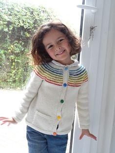 Ravelry: Demoiselle Arc-en-ciel (Little Miss Rainbow) pattern by Solenn Couix-Loarer Knitting For Kids, Baby Knitting Patterns, Rainbow Cardigan, Baby Cardigan, Little Miss, Baby Sweaters, Knitwear, Kids Fashion, Ravelry