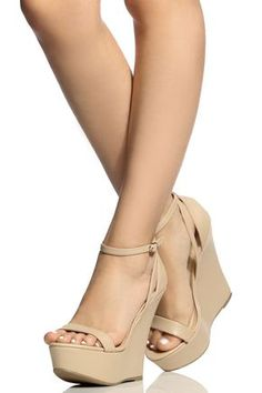 cd9cb24b8a48 Natural Faux Leather Ankle Strap Wedges   Cicihot Wedges Shoes Store Wedge  Shoes