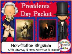 This Presidents' Day Song & packet is loaded with Literacy and Math activities for teaching about Washington & Lincoln.  Children enjoy singing about these American presidents while learning the differences between them. Historical paintings and photographs provide visual support of the text.
