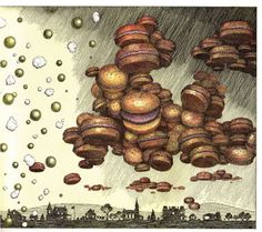 one of my favorite books Cloudy with a Chance of Meatballs World Hunger, Cross Hatching, Best Children Books, Children's Book Illustration, Book Illustrations, Hamburger Buns, Brown Paper Packages, Good Night Moon, Children's Picture Books