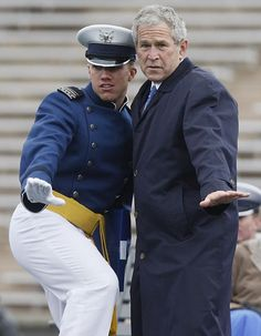 President George W Bush with US Air Force graduating cadet - 2008 (43rd) I wish we had a great commander in chief now for our wonderful men and women willing to serve. They deserve so much better than the one we have....