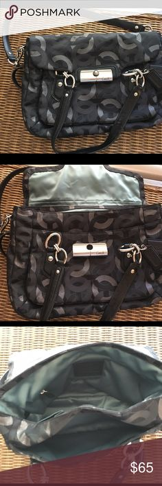 NWOT Coach satchel NWOT Coach bag; signature collection; black and metallic silver details; blue lining Coach Bags Shoulder Bags