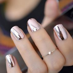 Reflective Mirror Light Soft Pink Metal Plating False French Acrylic Nail Tips Metallic Square Fake Nails Without Nail Glue Acrylic Nail Tips, French Acrylic Nails, French Nails, Cute Nails, Pretty Nails, My Nails, Wedding Nail Polish, Wedding Nails, Glitter Wedding