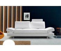 Hymn Modern White Leather Sofa w/ Adjustable Backrest