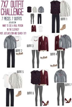 7x7 Outfit Challenge. Creating 7 outfits from only 7 pieces! Remixable wardrobe…