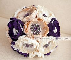 Brooch bouquet. Purple, Ivory and Champagne wedding brooch bouquet, Jeweled Bouquet. Made upon request