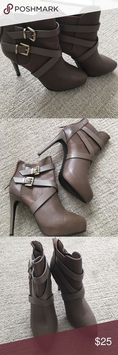 Charles David grey heels booties Cute heeled boots in a grey brownish color Charles David Shoes Ankle Boots & Booties