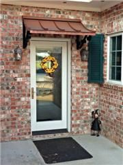 This awning style beautifully complements almost any home or business. Concave awnings are available in copper or colored metal and various. Metal Door Awning, Metal Awnings For Windows, Copper Awning, Front Door Awning, Patio Windows, Window Awnings, Patio Awnings, Front Entry, Front Doors