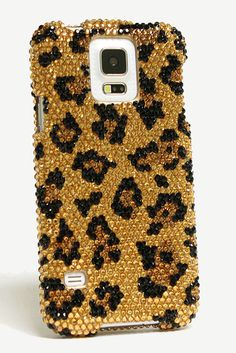 Leopard Design Samsung Galaxy S5 bling case | See more luxury bling phone cases at http://luxaddiction.com