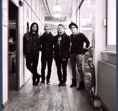 Fall out Boy,possing in the hall.They're so perfect that its hard to let go of them.Espically Patrick,Pete,Andy,& Joe.