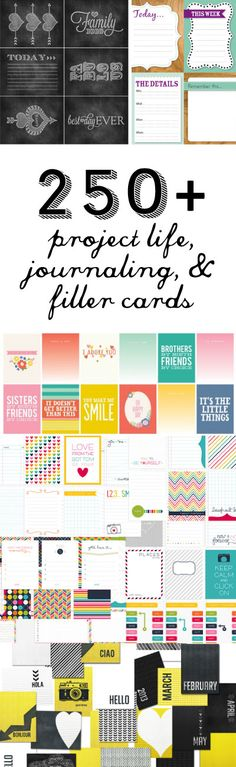 I have been thinking of trying out this new type of scrapbooking lately… As much as I LOVE scrapbooking, I just DON'T have time for it. So in my search to try out Project Life, I found all of these free printable journaling cards, I hope you enjoy the list… 1. Album Cards by Karla …