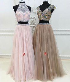 Unique two pieces tulle long prom dress, unique evening dress