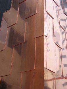 copper cladding 1 rivestimento in rame Metal Cladding, Metal Siding, Exterior Cladding, Wall Cladding, Architecture Details, Interior Architecture, Color Cobrizo, Facade Pattern, Copper Work