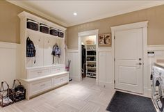 Mudroom. Storage Ideas for Mudrooms. #Mudroom Wall colour is Benjamin Moore Shaker Beige and the trim is Benjamin Moore Cloud White
