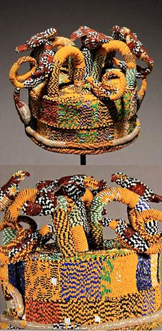"Yoruba bead work Beaded Coronet (Orikogbofo)  |  7"" x 10"" x 10""  