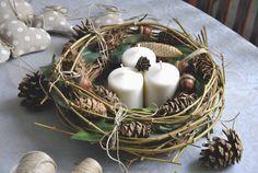 naturalny wianek, stroik, wieniec świąteczny - ViolaSororia - Dekoracje bożonarodzeniowe