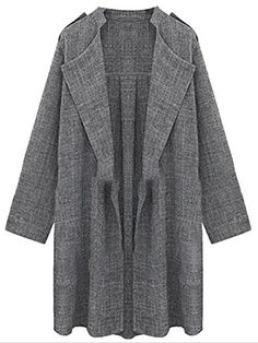 Cruiize Womens Fashion Roll Up Sleeve Tweed Lapel Trenchcoat Jacket Gray XXX-L