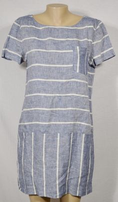 LOU & GREY Weathered Blue/White Striped 100% Linen Dress Medium Short Sleeves #LouGrey #Shift #Casual