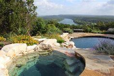 Natural rock interior to pool