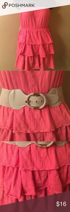 Tiered Flirty Dress Plenty of stretch and fun. Fabric is stretchy. Tiered bottom. No straps. Dress Is in good condition. Belt included with dress (but shows signs of wear). Dresses