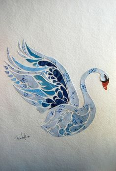 Swan paper cut with beautiful patterned paper