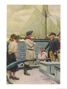 An American Privateer Captures a British Vessel  by Howard Pyle