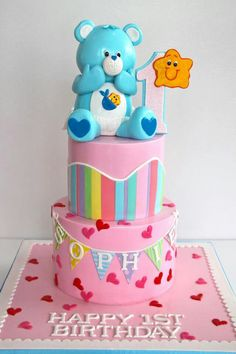 Cute simply cake birthday simple care bears kids girl