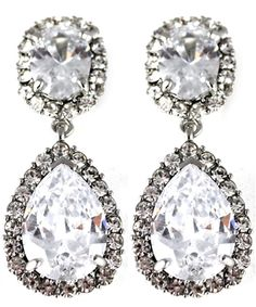 Von Keppel Occasions Silver Swarovski Crystal Drop Clip On Earrings | ClipOnEarringsChic.com