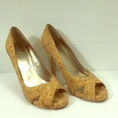 """Nine West Open-Toed Cork Heels With Gold Flecks Nine West open-toed heels made of cork with gold flecks.  Heels are approximately 4"""" high.  These heels have only been worn a handful of times but the right heel does have what appears to be some kind of staining on the outside. Nine West Shoes Heels"""