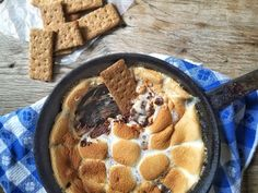 Skillet S'mores Dip. A delicious twist on this summer favorite. Recipe on Mom's Kitchen Handbook