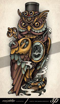 clockwork owl tattoo steampunk