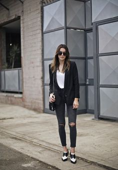 Black Blazer Ripped Skinny Jeans | Thrifts and Threads