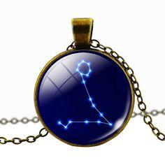 Pisces Blue Cabochon Glass Constellation Necklace