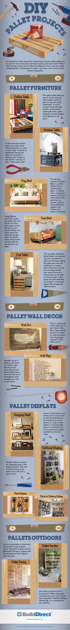 https://www.echopaul.com/ #diy Great ideas to turn your regular pallet into a creative and beautiful piece of furniture or decor! Which is your favorite? Click on the graphic or visit http://ow.ly/oyGJL to read more.