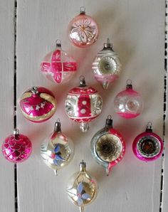 Collection of vintage and antique glass Christmas ornaments, lots of pink, by oodles