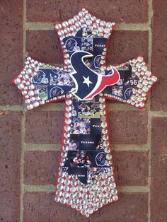 Texans Double Wooden Cross with bling. $45.00, via Etsy.