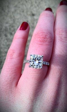 beautiful 2+ carat cushion cut engagement ring :  wedding cushion cut rings Ring5