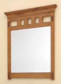 Craftsman Style Bathroom Mirror Wood Finish To Add Warmth