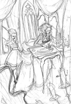 abigail larson... I like how you can see the character really clearly on the women's faces adding a dramatic effect to the sketch.