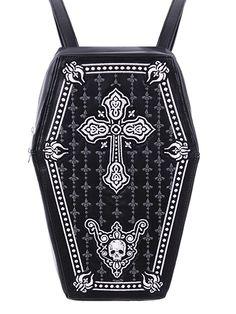 Необычная оригинальная сумка-рюкзак в виде гроба.Выполнена из искусственной кожи черного цвета. Задняя и передняя часть имеют жесткий каркас, поэтому сумка очень прочная.Фронтальная часть сумки украшена вышивкойСумку можно использовать и как сумку, и как рюкзак. В комплект входит три регулируемых ремня: два коротких ремня для ношения в качестве рюкзака, один длинный ремень для ношения в качестве сумки.Закрывается на молнию.Внутри три кармашка: один большой и два маленьких.Размеры:Высота: 34…