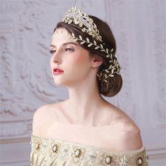 Vintage Wedding Gold Leaf Crown Tiara Rhinestone Headband Hair Chain Jewelry  #hairaccessoriescombheadpieceheadbandjewelry