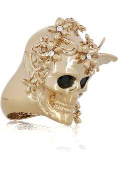 Alexander McQueen / Brass Swarovski crystal skull and butterfly ring