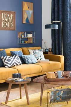 These are the ideas for living room paint colors, find your own personality color for the living room. The living room is not just personal space. Living Room Color Schemes, Paint Colors For Living Room, Living Room Grey, Room Colors, Living Room Interior, Living Room Designs, Blue And Yellow Living Room, Yellow Couch, Yellow Lamps